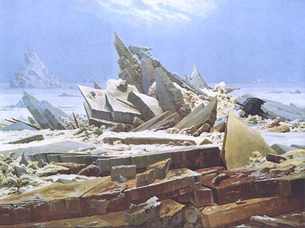 1824, Caspar David Friedrich's Das Eismeer (The Sea of Ice).