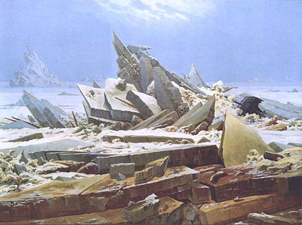 1824, Caspar David Friedrich's Das Eismeer (The Sea of Ice).